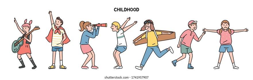 The children express their joyful talents. hand drawn style vector design illustrations.