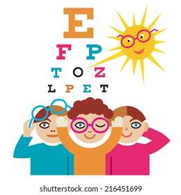 Children at the eye doctor. The sun as an eye doctor examining children using eye chart. Vector illustration cartoon.