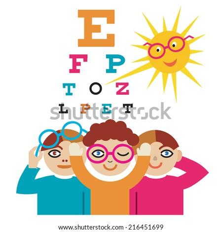 Children Eye Doctor Sun Eye Doctor Stock Vektorgrafik Lizenzfrei