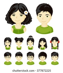 Children face set. Vector illustration set of different avatars of black-haired boys and girls on a white background. Collection of portraits kids.