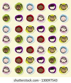 children faces over beige background, drawing. vector