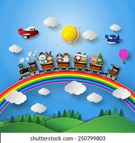 Children in fancy dress sitting on a train that was running on a rainbow.paper art style.