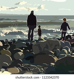 Children with father on beach layered drawing vector