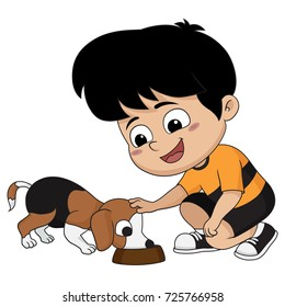 The children feed the dog, a friend of his beloved.Vector and illustration.