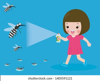 children fight mosquito by spray. protection dengue fever concept. Vector illustration, Zika virus ,malaria, yellow fever, Aedes Aegypti isolated on background vector illustration