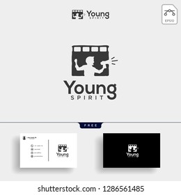 children film, broadcast logo template vector illustration with business card