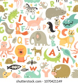 Children first abc seamless pattern with kids favorite funny animals pictures for each alphabet letter vector illustration