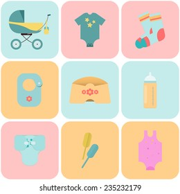Children flat icons. Flat icons on child-related issues. Set of flat icons. With the new baby!