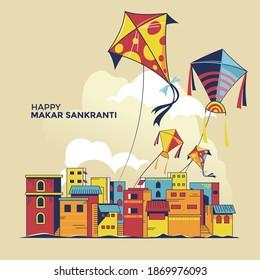 Children fly kites for the holiday Makar Sankranti Hindu harvest festival