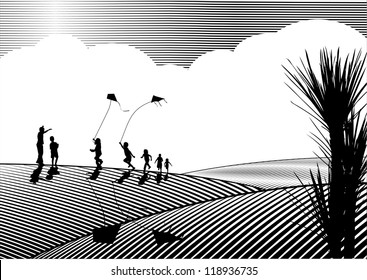 Children flying kites silhouette in black and white, woodcut