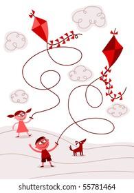 Children flying kites - vector