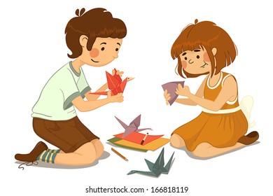 Children fold origami paper crane