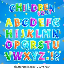 Children font vector illustration with blue background. Colorful capital letters alphabet for kids along with question and exclamation marks