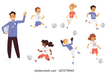 Children football soccer team of coach and players characters set of flat vector illustration isolated on white background. Kids sport team cartoon characters.