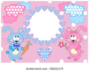 Children frame for photo with hearts of whether rabbits hares and text
