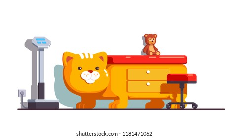 Children friendly pediatrician office with scales, bed in form of cat and toy in ambulatory pediatric clinic. Child health center or children department interior. Flat isolated vector illustration