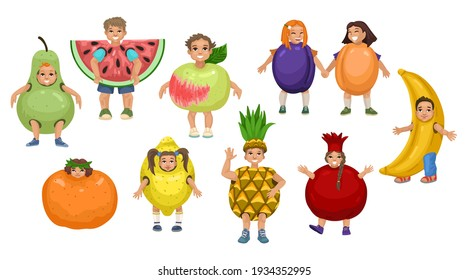 Children in fruit costumes. Group of characters on white background. Theatrical costumes, fairy-tale characters, teaching children about food. Vector cute flat illustration isolated on background
