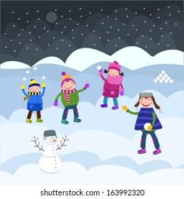 Children. Fun on snow.