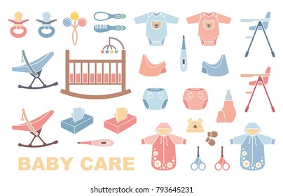 Children furniture, clothes and equipment for baby care