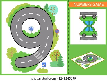 Children game. Numerals learn. Write numbers. Kids road and a paper toy car. Wallpaper for childrens room. Background for gaming car. Birthday party decorstions. Vector illustration.