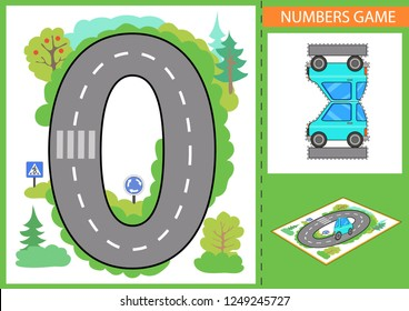 Children game. Numerals learn. Write numbers. Kids road and a paper toy car. Wallpaper for childrens room. Background for gaming car. Road signs. Vector illustration.