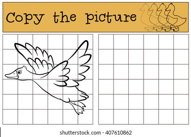 Children games: Copy the picture. Little cute duck flies and smiles.