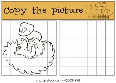 Children games: Copy the picture. Little cute hedgehog has a mushroom.