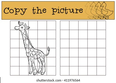 Children games: Copy the picture. Little cute giraffe stands and smiles.