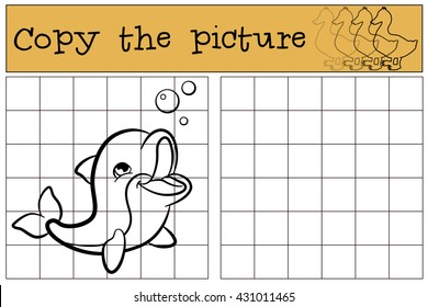 Children games: Copy the picture. Little cute baby dolphin swims and smiles.