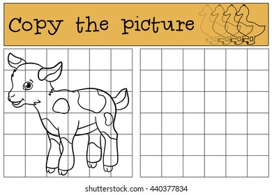 Children games: Copy the picture. Little cute baby goat stands and smiles.