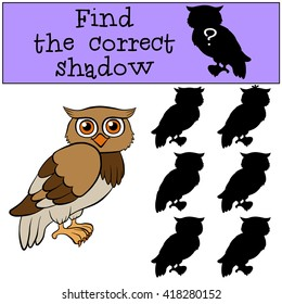 Children games: Find the correct shadow. Little cute owl.