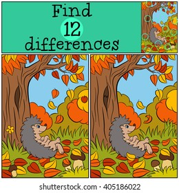 Children games: Find differences. Little cute hedgehog lays near big tree. Autumn.