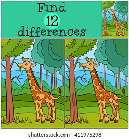 Children games: Find differences. Little cute giraffe eats leaves in the forest.