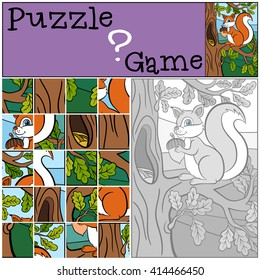 Children games: Puzzle. Little cute squirrel sits on the oak branch and holds an acorn.