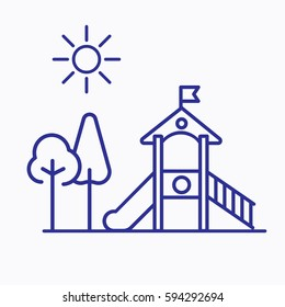 Children Garden Icon. Flat Isolated Outline Style Tree and Objects Symbols