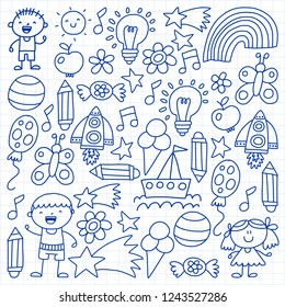 Children garden, Patern, Hand drawn pen children garden elements pattern, doodle illustration, Vector, illustration, monochrome.