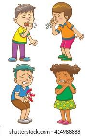 Children get sick cartoon character.EPS10 File  simple Gradients