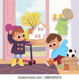Children are getting dressed up to go out on a cool day  in hallway. Boy put winter snow boots on, girl stand with scooter put wool winter hat on