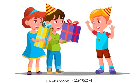 Children Give Birthday Gifts To A Friend Vector Isolated Illustration
