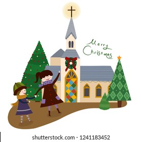 Children going to church for Christmas