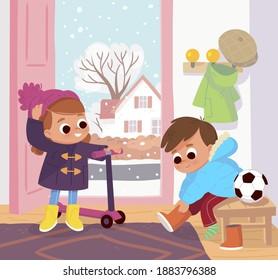 Children are going to go out on a cool, chilly day and getting dressed up properly, putting clothes on in hallway,lobby.Boy put winter snow boots on, girl stand with scooter and put wool winter hat on