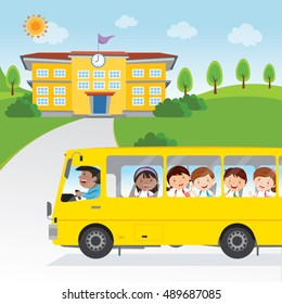 Children going to school by bus. Vector illustration of a school bus driver and happy school kids.