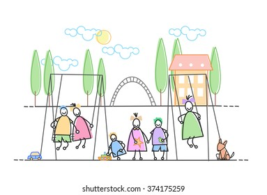 Children Group On Playground Leisure Holiday Vector Illustration