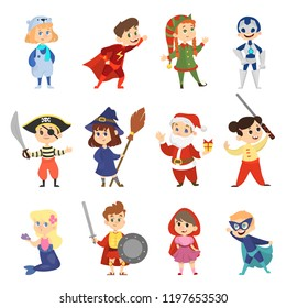Children in the halloween carnival costume set. Collection of boy and girl in party outfit. Superhero and mermaid. Isolated vector illustration in cartoon style