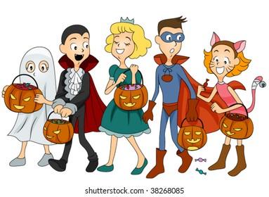 Children in Halloween Clothes - Vector