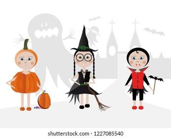 Children in halloween costumes walk in guests. Halloween concept.
