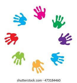 Children hand prints frame. Children's palms on a white background. Vector illustration