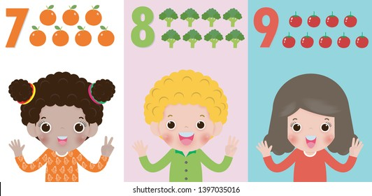 children hand showing the number Seven, eight, nine , kids showing numbers 7,8,9 by fingers. Education concept, Kids learning material vector illustration isolated on background