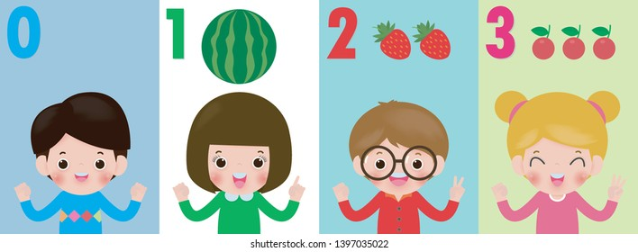 children hand showing the number zero one two three , kids showing numbers 0 1 2 3 by fingers. Education concept, Kids learning material vector illustration isolated on background