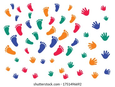 Children handprints and footprints. Colorful handprints and footprints isolated on white background